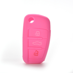 Buytra Car Key Case Cover Silicone For Audi A3 A4 A6 Tt Q7 R8 Pink