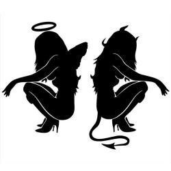Buytra Car Sticker Devil Angel Trendy Reflective