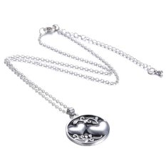 Buytra Chain Necklace Sister Tree Two-sided Alloy Pendant Necklace Love Family Gift Silver