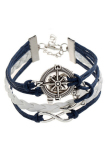 Buytra Charm Bracelet Anchor Faux Leather Silver Plated DIY Navy - thumbnail 1
