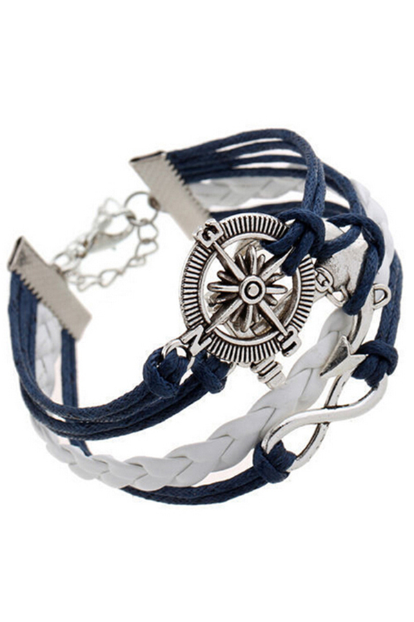 Buytra Charm Bracelet Anchor Faux Leather Silver Plated DIY Navy product preview, discount at cheapest price