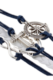 Buytra Charm Bracelet Anchor Faux Leather Silver Plated DIY Navy - thumbnail 2