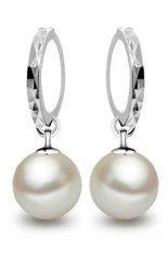 Buytra Ladies Earrings 925 sterling Silver Freshwater Peal Dangle White