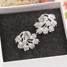 Buytra New Fashion Women Luxury Full Shining Rhinestone Feather Earrings Party Jewelry Silver