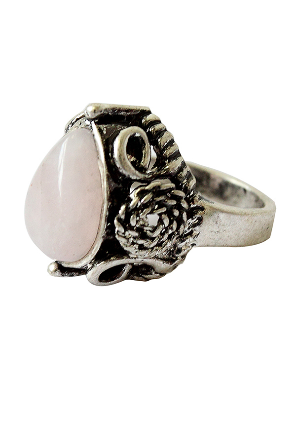 Buytra Vintage Pear Round Cut Pink Rose Quartz Silver Plated Flower Ring 8 product preview, discount at cheapest price