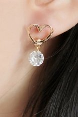 Buytra Women Earring 925 Silver Plated Ear Hook Rhinestone Gold