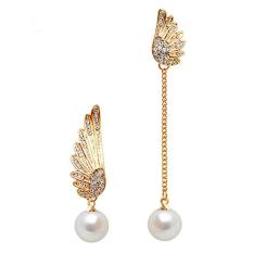 Buytra Women Fashion Gold Plated Earings Double Wings Stud Earrings Pearl Hook Earrings Gold