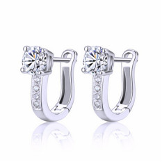 Buytra Women Fashion Silver Plated Jewelry U Type Earrings Party Wedding Fine Studs White