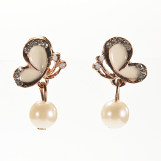 Buytra Women New Elegant Butterfly Earings Bow Knot Pearl Stud Earrings Chic Ear Stud White