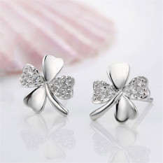 Buytra Womens 1 Pair Silver Plated Lucky Clover Love Ms Earrings Jewelry Fashion Stud White