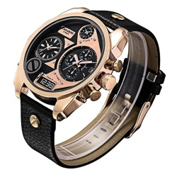 CAGARNY 6822 Fashionable Concise Style Large Dial Dual Clock Rose Gold Case Quartz Movement Wrist Watch With Leather Band and GMT Time and Calendar Functions For Men(Black Window) - intl