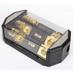 Car Audio Fuse Insurance Block Holder (Black/Gold)