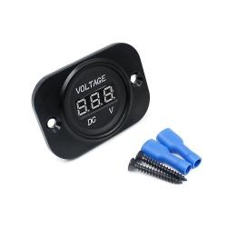 Car Auto Motorcycle DC 12V 24V Digital Red LED Display Voltmeter Meter Black