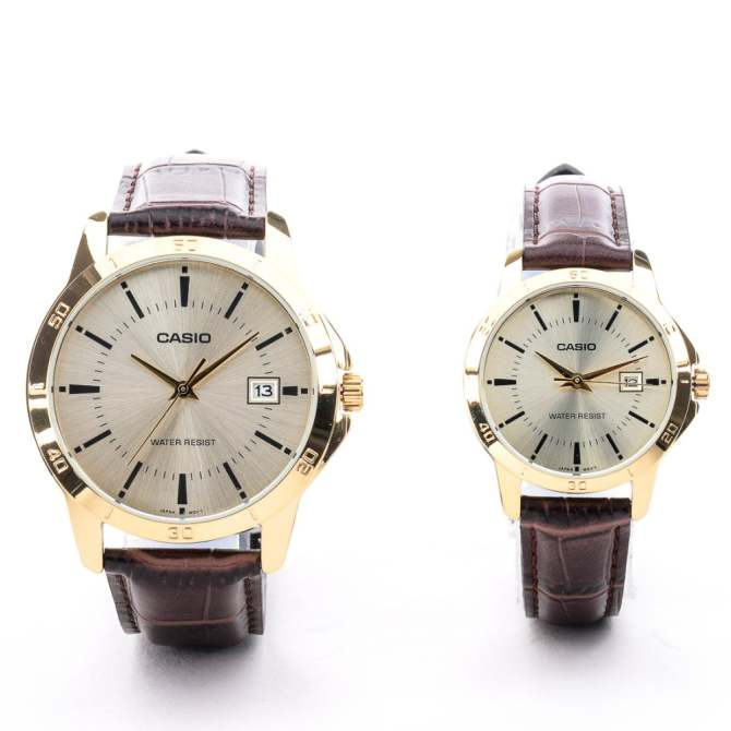 Casio Couple Pair Brown Leather Strap Watch MTP/LTP-V004GL-9AUDF