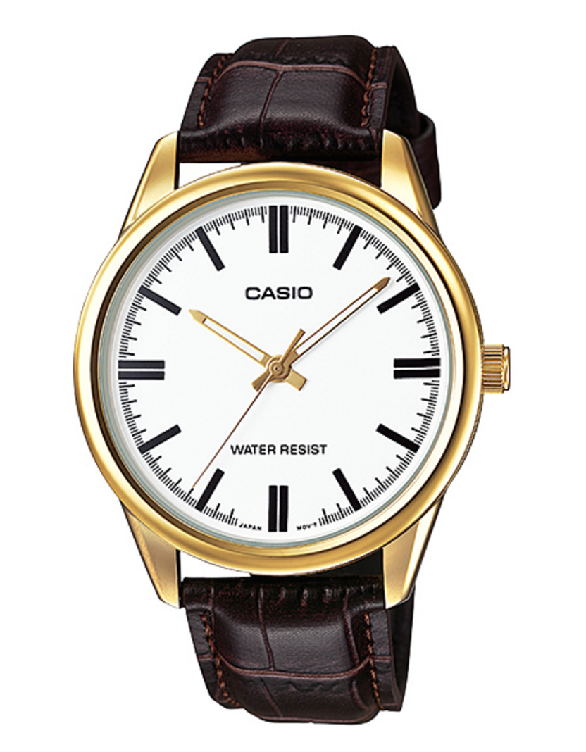 Casio Standard Analog Timepiece Dark Brown Leather Strap Watch MTP-V005GL-7AUDF product preview, discount at cheapest price