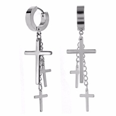 Charisma Cross Earrings Mens Stainless Steel Hoop Huggie Lightning Dangle For Men Intl