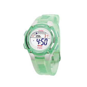 เด็กสาวว่ายน้ำกีฬาชายดิจิตอลนาฬิกาข้อมือกันน้ำสีเขียว