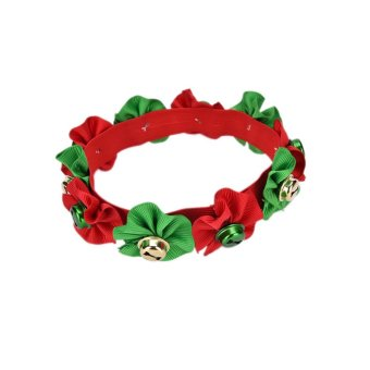 Christmas Pet Dog Cat Puppy Necklace Party Collar Bells Grooming Accessories Red Green 26-30cm - intl