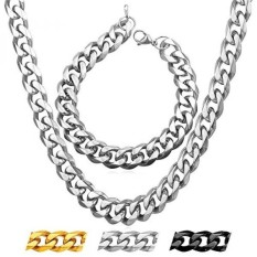 Classic Cuban Chains Men Jewelry Stainless Steel Curb Chain 9MM Wide Link Bracelet Necklace Bracelet Set