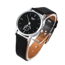Classic Man Woman's Quartz Electronic Analog Leather Band Strip Wrist Watch Black free shipping - intl