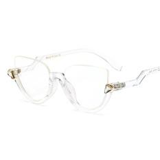 bbec8d2f91ca Clear Transparent Cat Eye Glasses Women Optical Vintage Half Frame Black  Designer Crystal Half Frame Eyewear