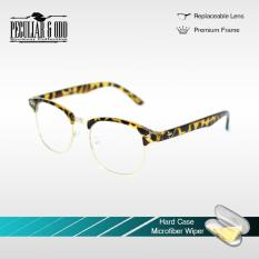 Peculiar Clubmaster Optical Square Eyeglass 8056 PrintedBrown Clear  Replaceable Lens Unisex 1876ffa82b9f