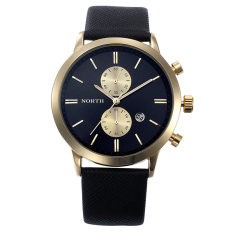 Coconie Fashion Men Casual Waterproof Date Leather Military Japan Watch Gift Black Gold