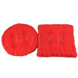 Corduroy Seat Cushion Red 2 Piece Set (Red)