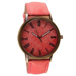 Cowboy Leather Band Analog Quartz Watch Pink