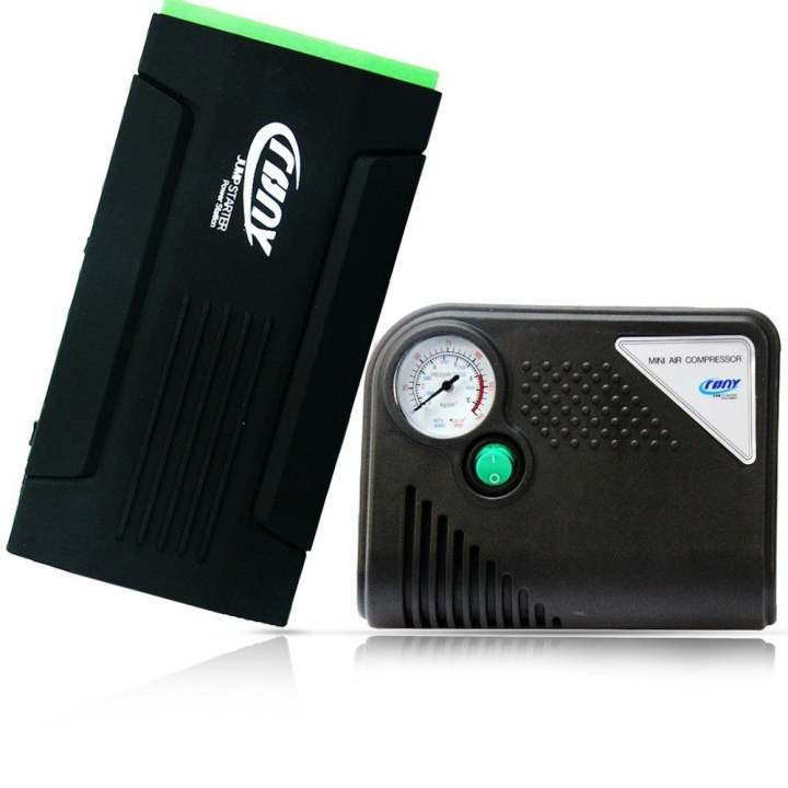 Crony  D28A+ 12V Battery Jump Starter with Inflator (Black/Green)