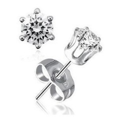 Six-claw DANISA Ear Stud for Both Men And Women Earrings 925 Silver White Gold