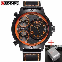 CURREN Top Brand Luxury Men's Watches Fashion Military Leather Three Time Zone Sport Watches Men Quartz Watch Relogio Masculino Gift Box - intl