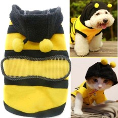 Cute Bee Design Pet Dog Polar Fleece Cloth Clothing Cat Clothes Puppy Hoodie Plush Warm Winter Coat Apparel Costume Accessory For Dogs Pets With Hat Size S - Intl By Stoneky