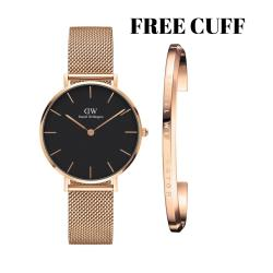 Daniel Wellington Classic Petite Melrose 32mm Rosegold Black Face watch with DW cuff rosegold small