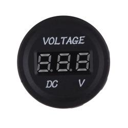 DC Motorcycle LED Digital Voltmeter Voltage Meter Gauge Round Panel