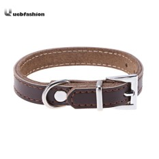 Dog Collar PU Leather Puppy Cat Pet Neck Belt Tie Supply(Coffee)-L - intl Philippines