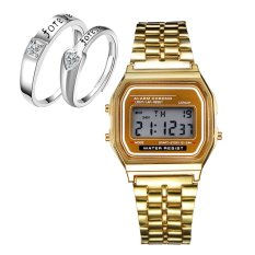 E&E AMD-1 Ultrathin Multifunction Digital Electronic Watch with Light ( Golden) With LX