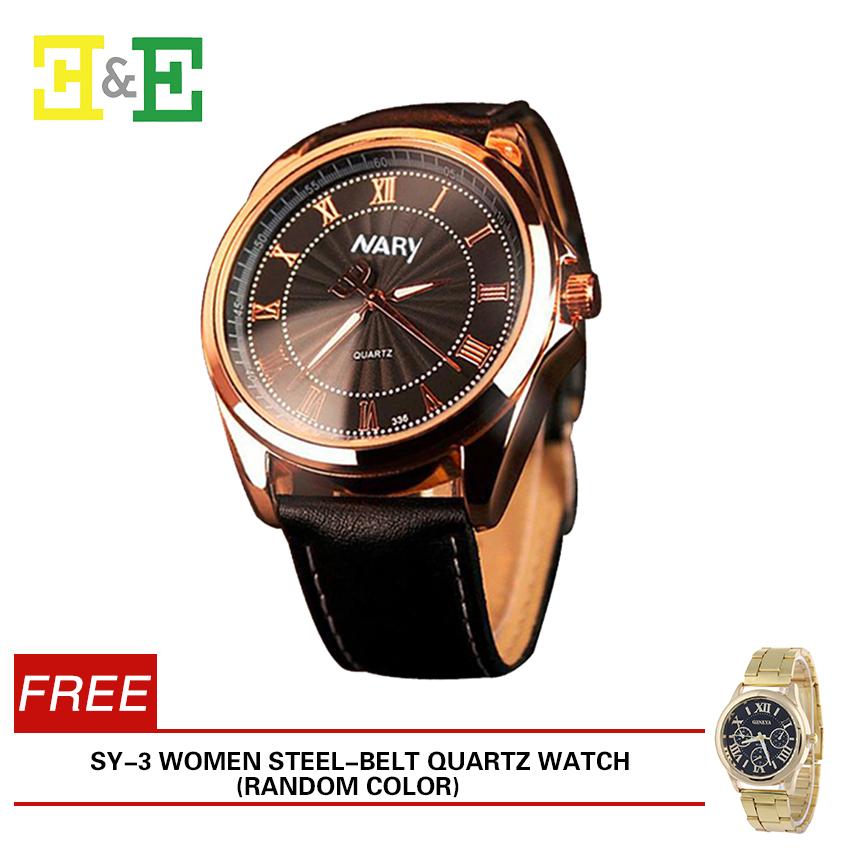 E&E NARY 336 Roman Numerals Business Men Leather Strap Quartz Wristwatch with Free SY-3 Women Steel-belt Quartz WatchRandom Color