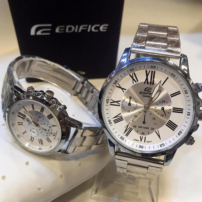 edifice couple watch color silver