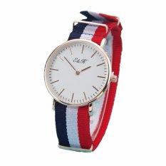 EK21 Mens Fashion Nylon Strap Wristwatch (Rose Gold/Blue+White+Red)