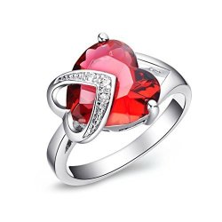 Elegant Red Created Ruby Themed Ring Heart Shaped Gemstone with Clear Transparent Cubic Zirconia Gold Plated. Free Blue Jewellery Box Beautiful Gift for Women or Girls.- INTL