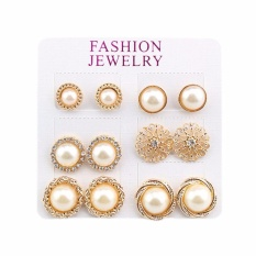 Fancyqube 6 pairs sets Elephant Rose Flower Pearl Alloy Crystal Stud Earrings For Women Hot-