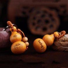 Fancyqube Hot Chinese Traditional Keychain Cute Mini Peach Wood Key ring Wishful Lucky Pendant Car Keys