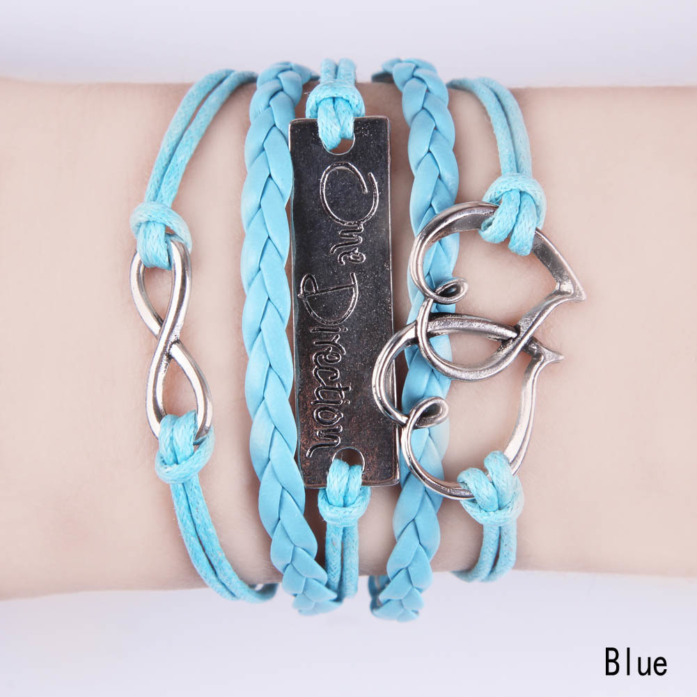 Fancyqube Infinity One Direction Heart Leather Charm Bracelet Blue - thumbnail