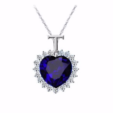 Fancyqube New Titanic Heart of the Ocean blue Crystal Chain Necklace Pendant Plate Jewelry High quality