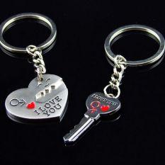 3b4adb2cb4 Fancytoy 2pcs Silver Couples Lover Metal Key Chain Ring