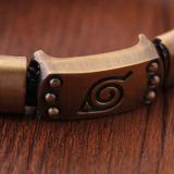 Anime Naruto Konoha Bracelet Leaf Mark Brown Wristband Cosplay Bangle Anime Fan
