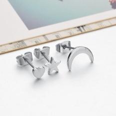 Fashion 3 Pcs/Set Moon Star Heart Love Ear Stud Gold Silver Plated Earrings Cute