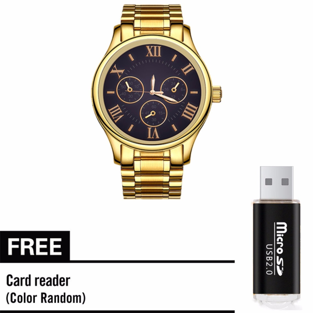 Fashion Business Men's Watch with Free Metal TF Card Reader