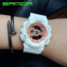 Fashion Colorful Jelly Multifunction Student Sport Watch LED Digital Dual Display Waterproof Woman Watch - intl